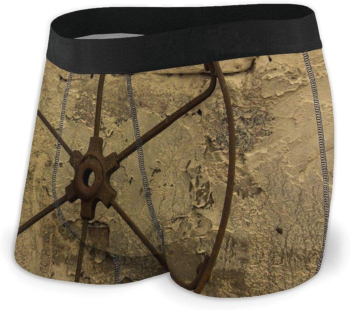 Mens Boxer Briefs Retro Metal Wheel Vintage Breathable Underwear