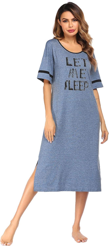 Ekouaer Nightgowns for Women Short Sleeve Sleepwear Comfy Sleep Shirt Caftan Loungewear