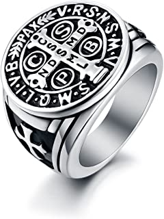 Men's St Benedict Exorcism Ring Stainless Steel Solid Heavy Rings Catholic Roman Cross Demon Protection Ghost Hunter Christmas Gift