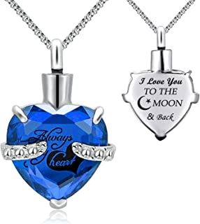 Urn Necklaces for Ashes Always in My Heart Heart Cremation Jewelry Memorial Pendant Birthstone Necklace