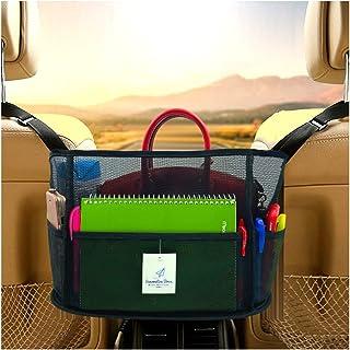 Extra Large Capacity Car Net Pocket Handbag Holder Between Seats - Car Net Pocket Organizer – Car Seat Storage For Men Women Handbag Cell Phone Wallets Purse & Pet Barrier (Black Edges)