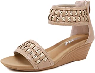 BOJIN Womens Espadrille Wedge Sandals Peep Toe Slides on Platform Summer High Heel Slippers