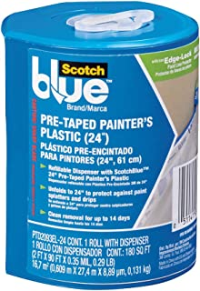 ScotchBlue Pre-taped Painter's Plastic, Unfolds to 24-Inches by 36-Yard - PTD2093EL-24