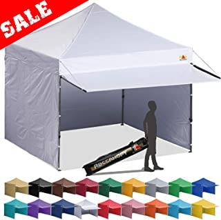 ABCCANOPY 10x10 EZ Pop up Canopy Tent Instant Shelter Commercial Portable Market Canopy with Full Walls & Awnings & Wheeled Bag Bonus 4 Weight Bag