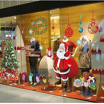 Grande Pegatinas de Navidad arbol fiesta extraíbles adorable Papá Noel nieve alce colores pegatina de pared etiqueta engomada (A)