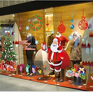 Christmas Windows Stickers Santa Claus Removable Vinyl Christmas tree DIY Wall Window Door Mural Decal Sticker for Showcase (Red)