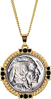 Buffalo Nickel Medallion Goldtone Necklace Pendant-with Faceted Round Jet Glass Stones| Buffalo Nickel Medallion with Cable Chain | Layered in 24 KT Gold