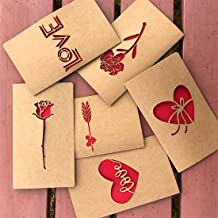 Valentine's Day Card, IQinQi Romantic True Love Cards with Envelopes, 6 Pack Exquisite Openwork Pattern, Hollowing Out Design Greeting Cards