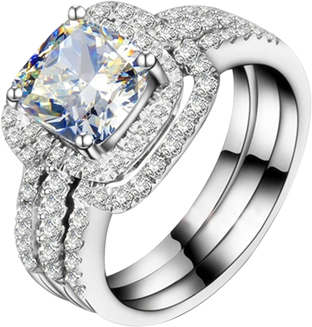 White Gold Plated Under blast sales Perfect 3CT Wedding Engagement Ba Sale SALE% OFF Ring Cushion