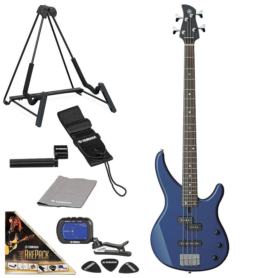 Yamaha TRBX174 Electric Bass Guitar Bundle with AxePack Accessory Pack (Metallic Blue)