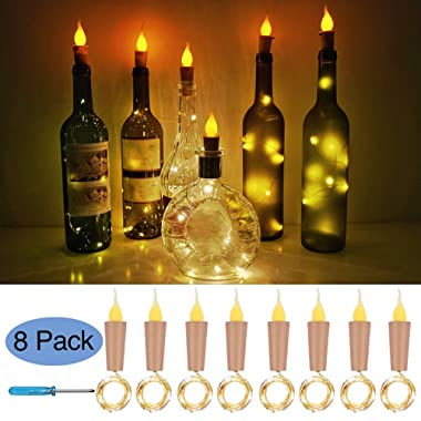 Cooo Flameless Candle Bottle Lights with Cork 8 Pack 11 Led Battery Operated Used Wedding DIY Party Bookshelf Indoor Outdoor Lights Decoration-Warm White