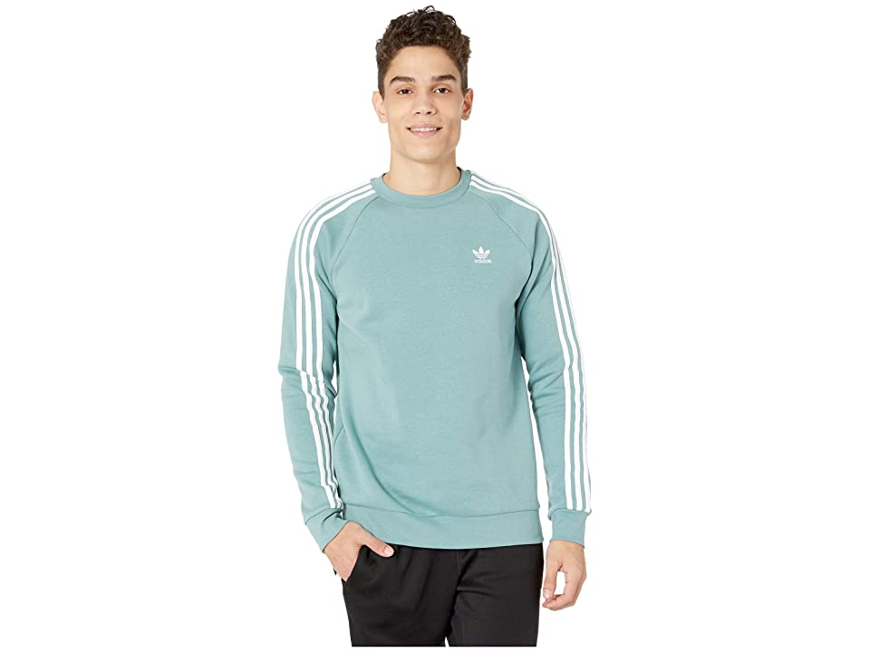 Image of adidas Originals 3-Stripes Crew (Vapour Steel) Men's Short Sleeve Pullover