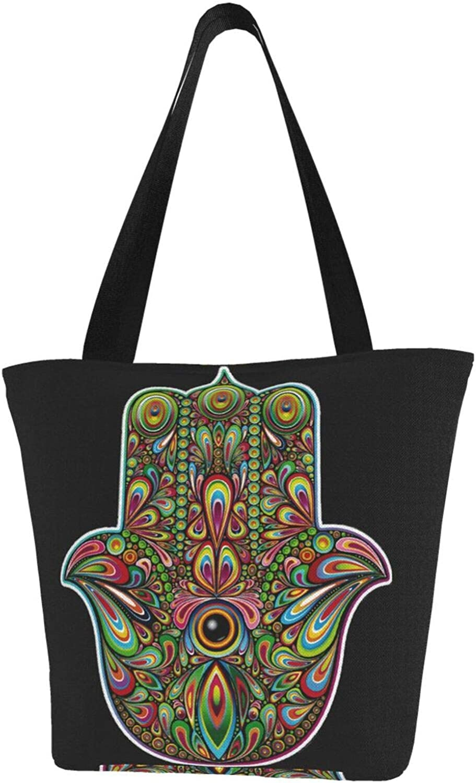 Hamsa Hand Fatima Faith Peacock Feathers Themed Printed Women Canvas Handbag Zipper Shoulder Bag Work Booksbag Tote Purse Leisure Hobo Bag For Shopping