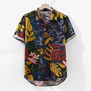YSY-CY Plus Size Short Sleeved Hawaiian Shirts Single Breasted Turn Down Collar Floral Print Men Shirt Men's Shirts Cotton рубашка Suitable for outdoor travel/daily wear at work (Size : 4XL)