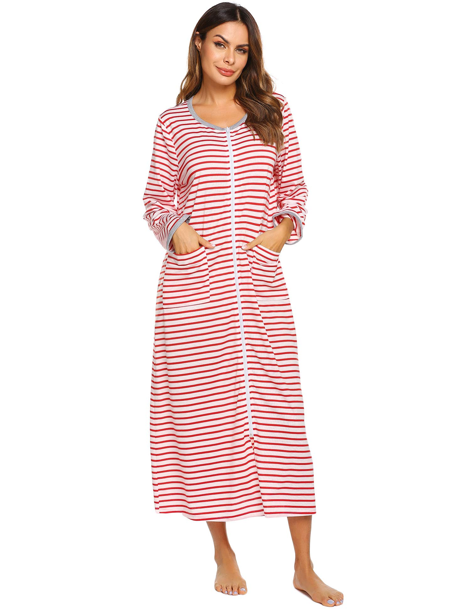 Image of Long Striped Zippered Robe for Women - See More Colors