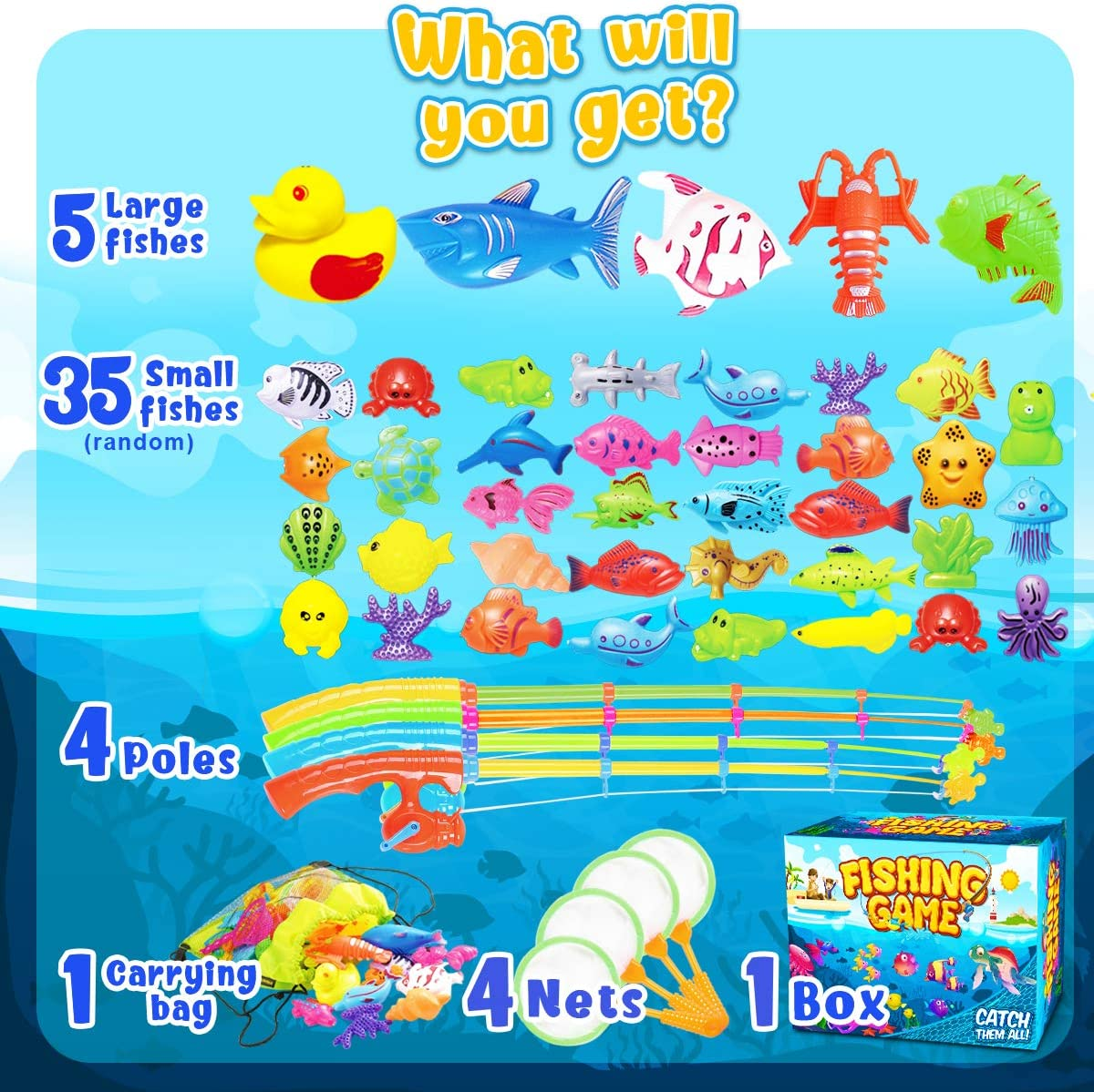 GoodyKing Magnetic Fishing Game Pool Toys for Kids - Toy...
