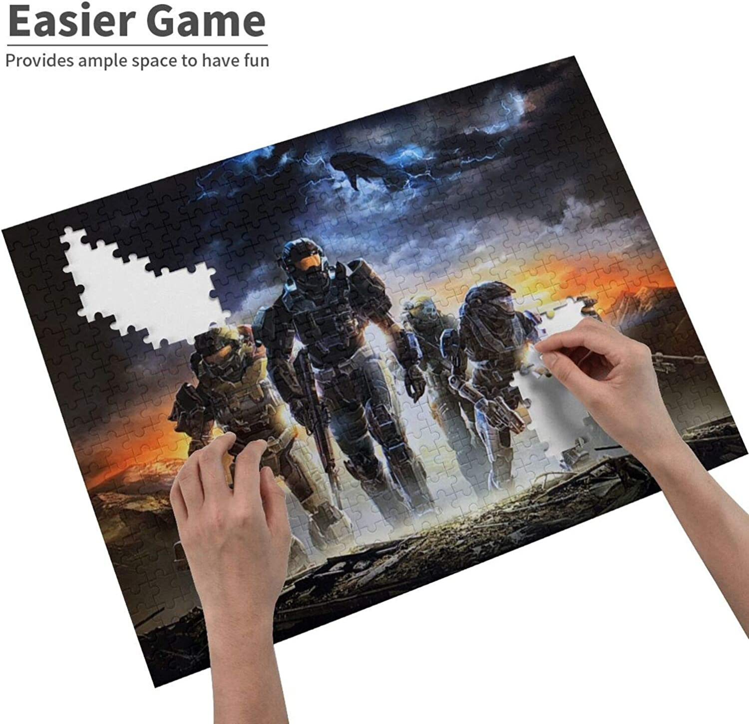 Educational Learning Fun Puzzle Games EUEYAIADS Buildterial Halo Legendary 500 Piece Jigsaw Puzzles