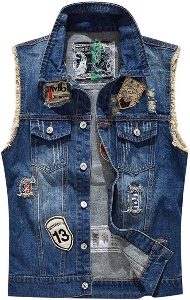 MODOQO Men's Denim Jacket Casual Sleeveless Lightweight Cowboy Jeans Outwear