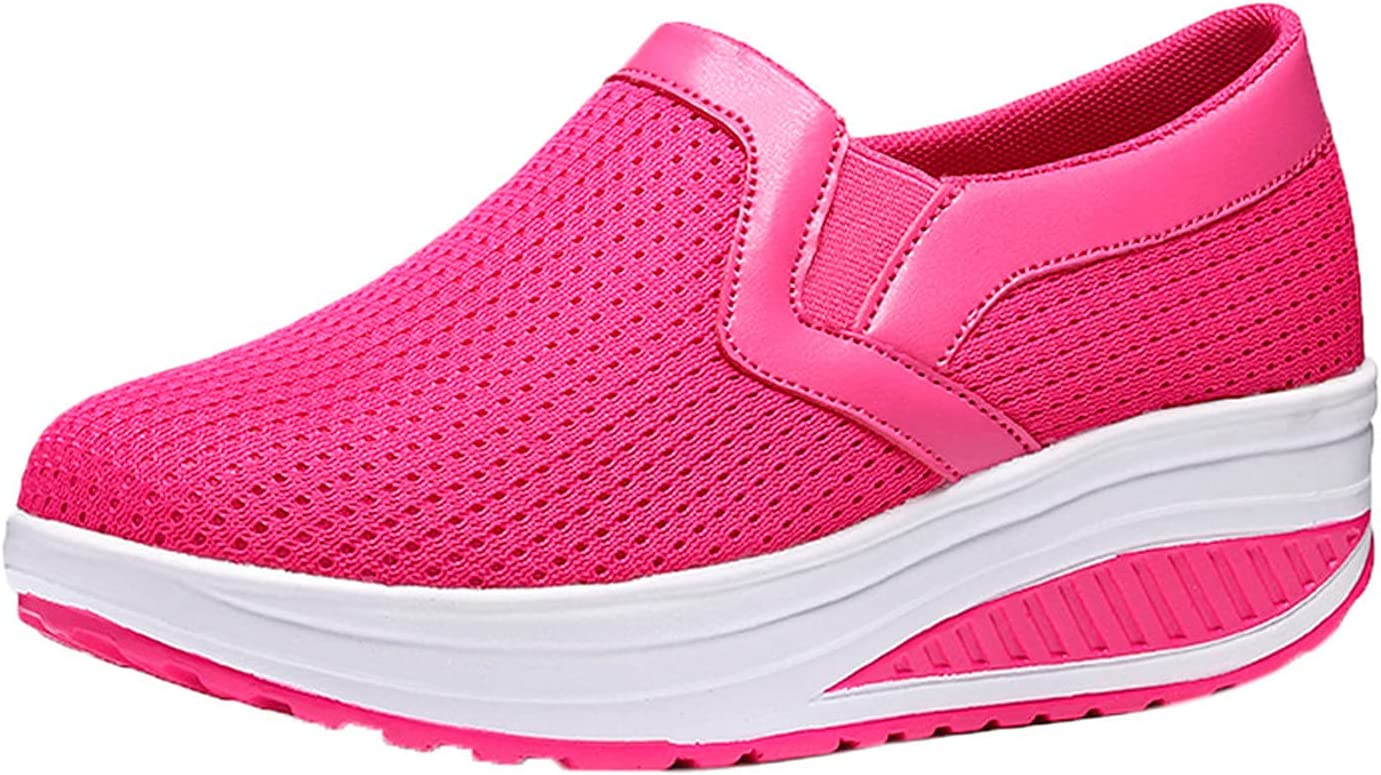 Women Mesh Solid Color Breathable Knitted Shoes Fashion Casual Wedge Platform Sneakers