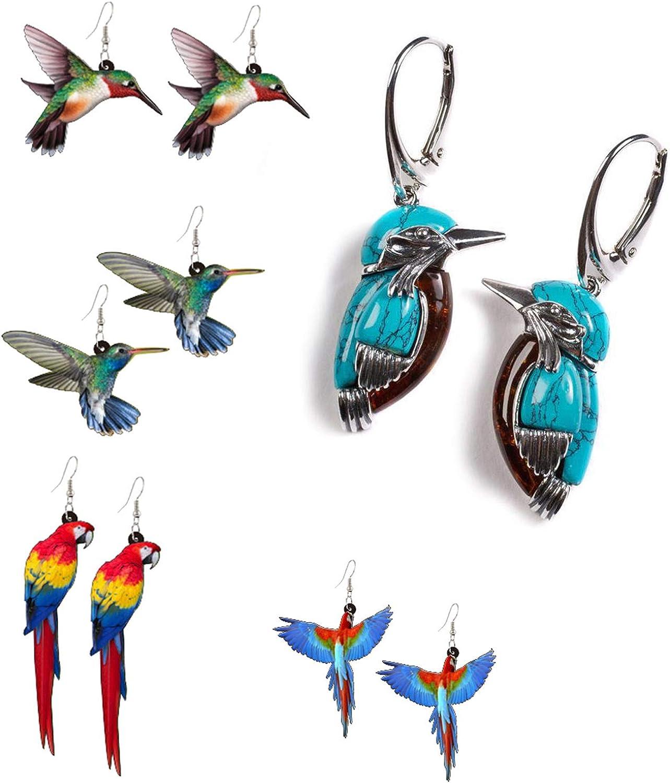 Colorful Bird Acrylic Dangle Earring Blue Turquoise Enameled Birds Dangling Earrings Retro Style Bluebird Pendant Drop Hoop Earring for Women Girls Egirls Eboy