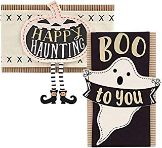 Mud Pie Halloween Pillow Wrap Pillow Cover Pumpkin and Ghost 2-pc Set (Pillow NOT Included)