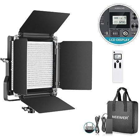 Neewer アドバンスド660 LEDビデオライト 調光可能な二色LEDパネル 液晶画面とワイヤレスリモコン装備 金属製U型ブラケットとバーンドア付き ポートレート、商品撮影、スタジオビデオ撮影用