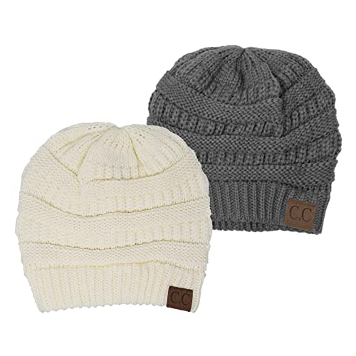 99673735f26 Funky Junque Solid Ribbed Beanie Slouchy Soft Stretch Cable Knit Warm Skull  Cap