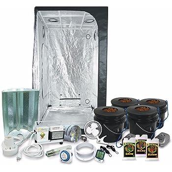 "HTGSupply 3 x 3 (39""x39""x79"") Grow Tent Kit Complete with 400-Watt HPS Grow Light + DWC Hydroponic System & Advanced Nutrients"