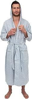 Mens Lightweight Sleep/Lounge Long Bath Robe with Hood -Premium Cotton Blend
