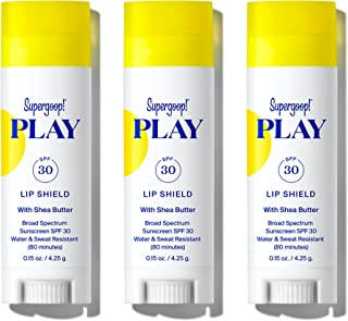 Supergoop! PLAY Lip Shield SPF 30 with Shea Butter - 3 Pack - Hydrating, Reef-Safe SPF Lip Balm - Moisturizing Lip Treatme...
