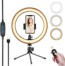 """Powsure 10"""" LED Ring Light with Tripod Stand & Phone Holder for Selfie, Makeup,Live Streaming & YouTube Video, Dimmable Desk Ringlight Kit for Photography with 3 Light Modes&10 Brightness Level"""
