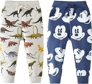 Acircle Little Boys Cartoon Print Cotton Joggers Pants Drawstring Elastic Sweatpants with Pocket, Age 2-7T