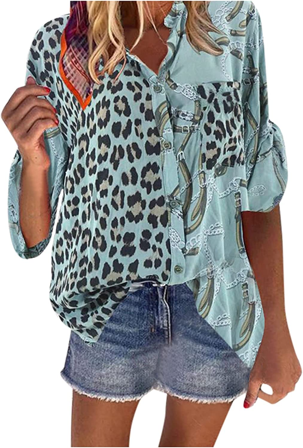 Blouses Free Shipping Cheap Bargain Gift for Women Max 56% OFF Fashion V Neck Casual Print Tops Long Leopard