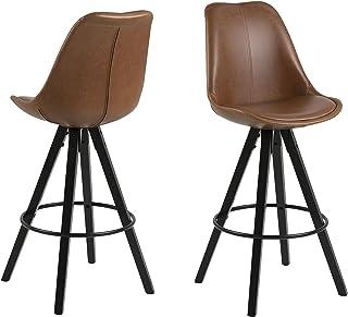 Amazon Brand - Movian Arendsee - Juego de 2 taburetes de bar 55 x 485 x 1115 cm marrón