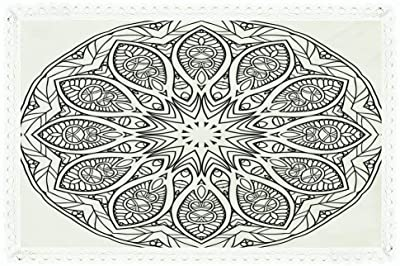 iPrint Mandala,Rectangle Polyester Linen Tablecloth/Circular Indian Ethnic Icon with Inner Flower Curved
