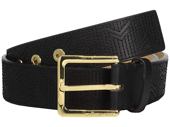 MICHAEL Michael Kors 38 mm (1.5) Deco M Quilt Belt (Black/Light Polished Gold) Women