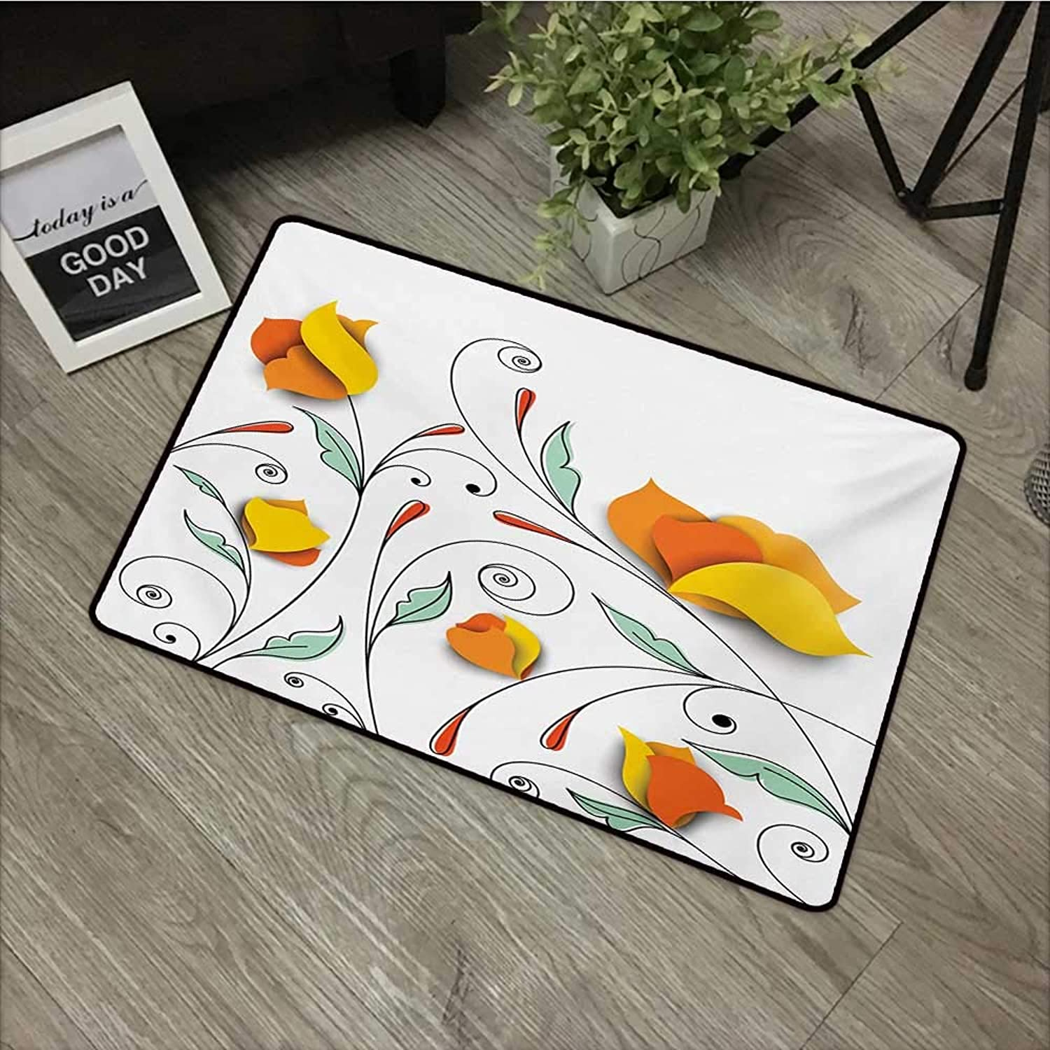 Bedroom Door mat W35 x L47 INCH Floral,Bouquet with Swirled Branches Romantic Paper Flowers Origami Autumn Blooms Image,Mint orange Easy to Clean, no Deformation, no Fading Non-Slip Door Mat Carpet