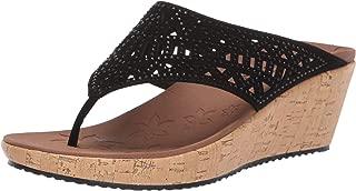 Skechers Women's Beverlee-Summer Visit-Hooded Rhinestone Laser Cut Wedge Thong Sandal