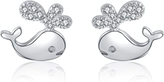 Fashion Attitude 925 silver earrings simulated diamond whale water spout stud for kids baby cute