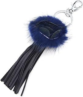 Oh My Shop PT1159D - Porte-Clés/Bijou de Sac - Fleur Pompon Bleu Nuit et Franges Simili Cuir Gris Foncé