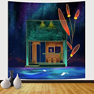 Sinsoledad Tapestry for Bedroom Teen Girl, Funny Wall Tapestry Backdrop for Kid's Bedroom Aesthetic,Magic Kawaii Deep Blue Party Wall Hanging Beach Towel ,59x59 Inches