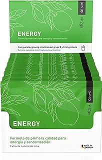 Vit2go ENERGY (30 sobres) - Bebida energética con cafeína (124 mg), guaraná y taurina, Complejo vitamínico con minerales (8 vitaminas B y aminoácidos esenciales, magnesio, calcio, zinc