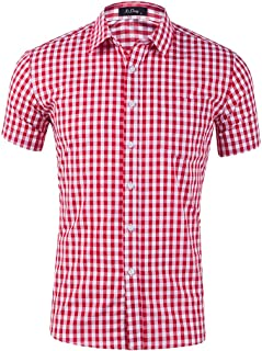 Summer Men's New Cotton Small Plaid Short Sleeve Casual Shirt Top Blouse