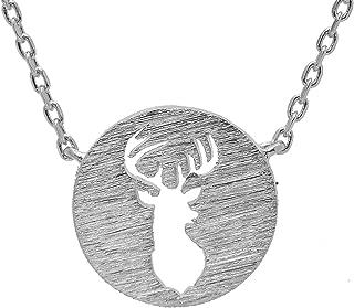 Handcrafted Brushed Metal Deer Head Necklace