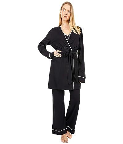 Cosabella Bella Curvy Cami Pants and Robe Set (Black/Ivory) Women