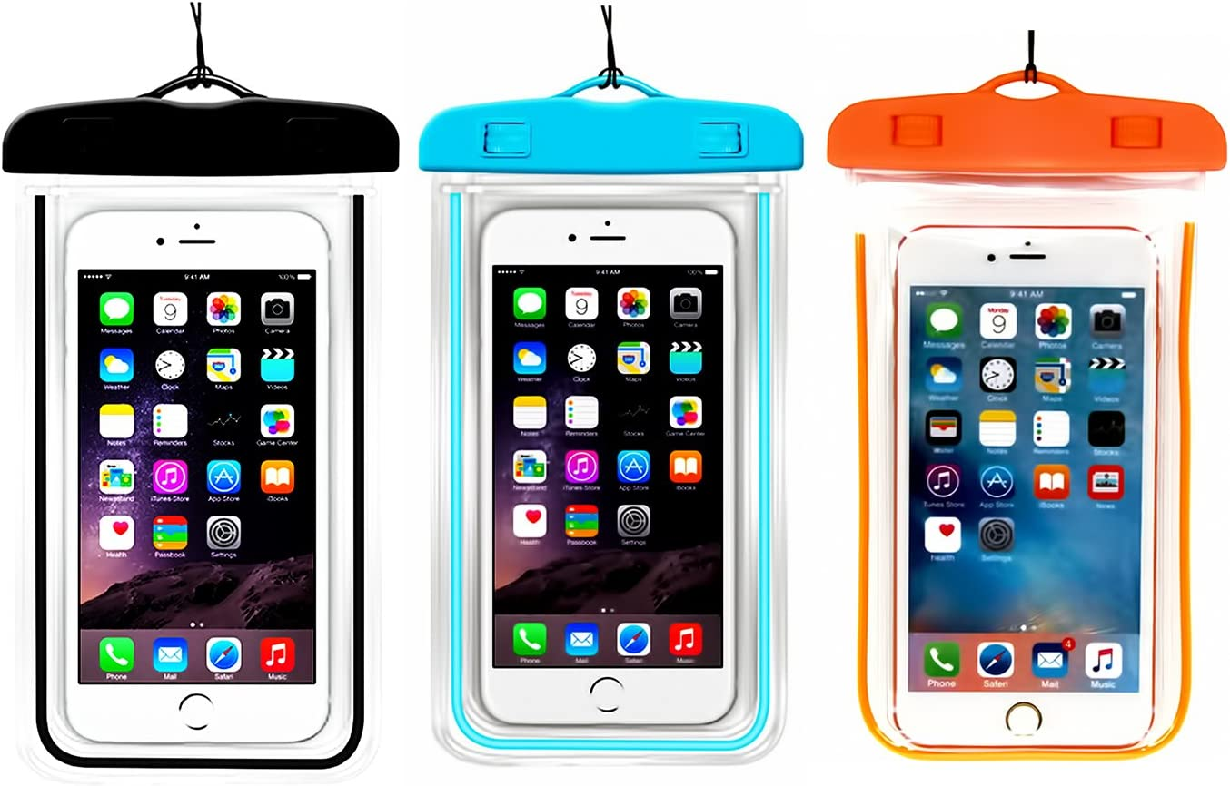 (3Pack) Universal Waterproof Case, CaseHQ Cellphone Dry Bag Pouch for iPhone 7 6s 6 Plus, SE 5s 5c 5, Galaxy s8 s7 s6 Edge, Note 5 4,LG G6 G5,HTC 10,Sony Nokia up to 6.2
