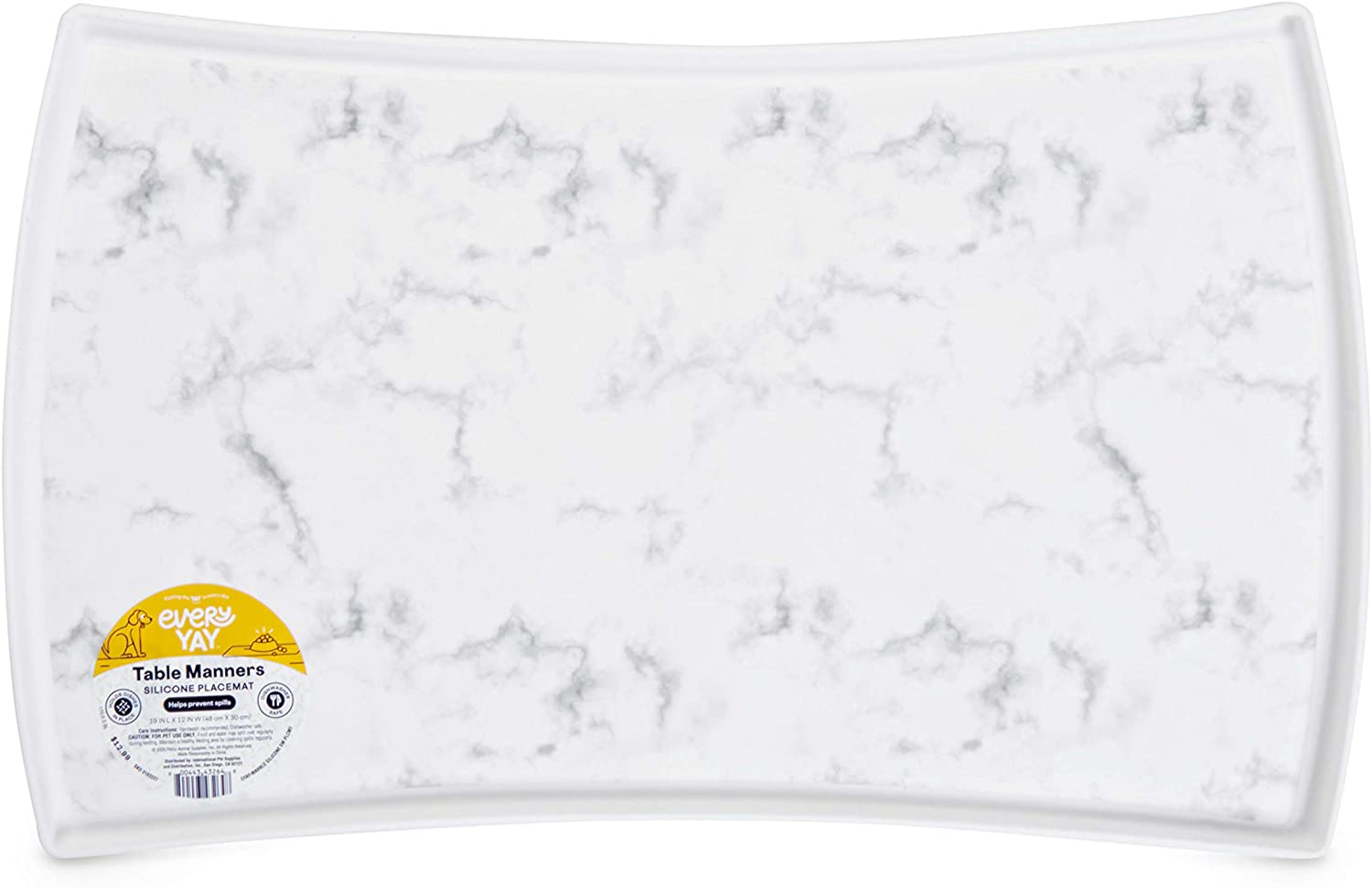 Kitchen Dining Everyyay Table Manners Marble Print Silicone Placemat For Pets Small White