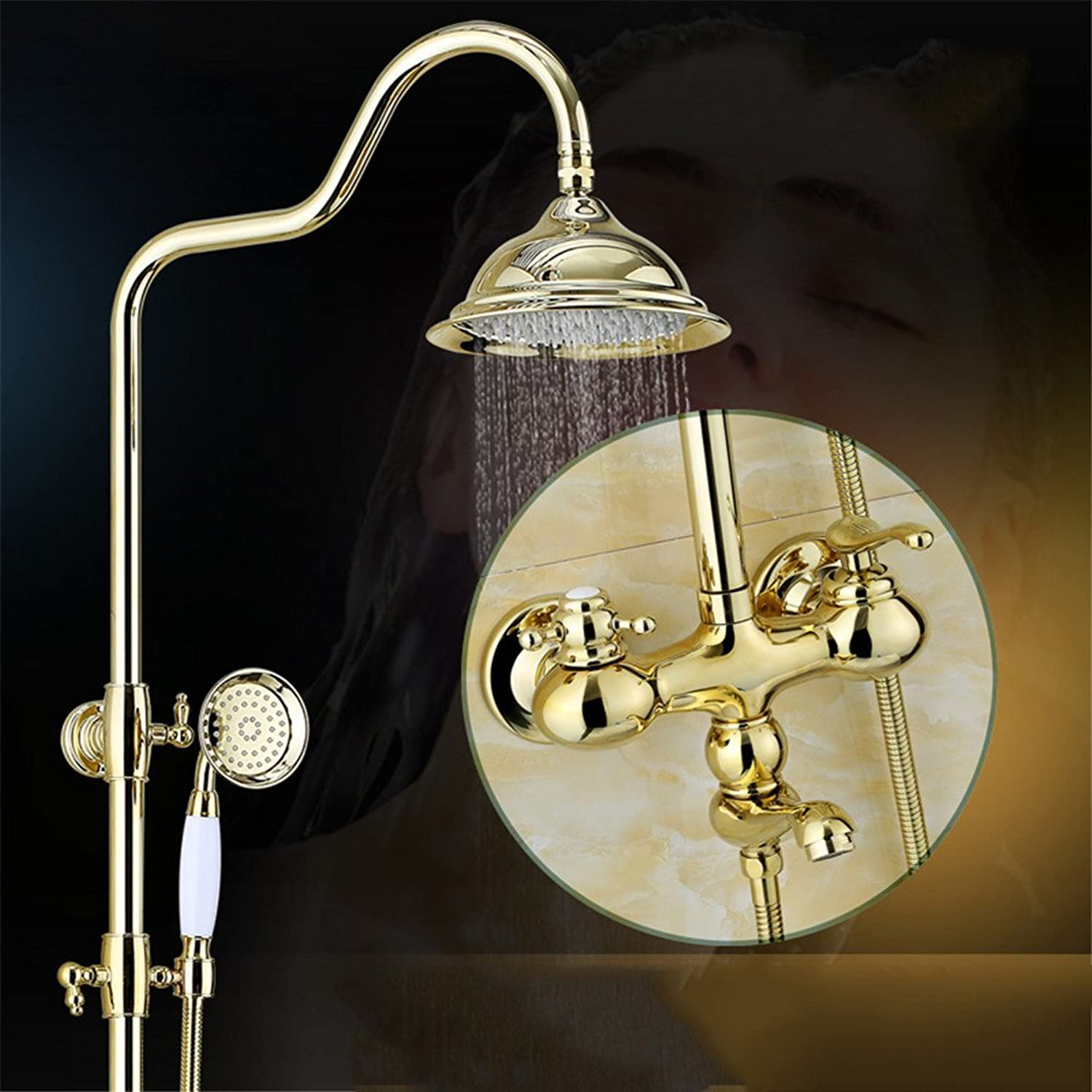Lalaky Taps Faucet Kitchen Mixer Sink Waterfall Bathroom Mixer Basin Mixer Tap for Kitchen Bathroom and Washroom golden Shower Lift Copper Body Retro gold Plated
