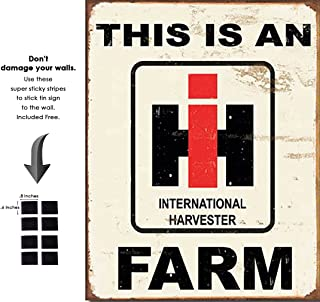 Shop72 - International Harvester Farm Tin Sign Retro Vintage Distrssed - with Sticky Stripes No Damage to Walls
