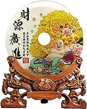 Natural White /Green Jade Bi Safety Buckle Ring Feng Shui Decor Ornaments (Laugh Maitreya Buddha, 14 inch Diameter)